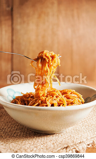 Countryside noodle in a old bowl still life tone - csp39869844
