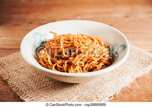 Countryside noodle in old bowl still life tone - csp39869989