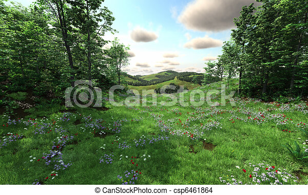 Countryside with meadows and hills - csp6461864