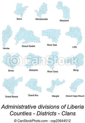 County maps of liberia Large and detailed map of all vector clip