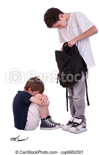 coup, adolescent, isolé, intimider, souffrance, studio, blanc, enfants - csp6652301