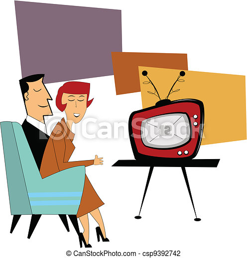 coupe watching tv couple sitting on couch watching their new tv rh canstockphoto com clipart of watch tv Cartoon Girl Watching TV