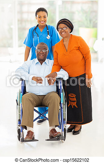 couple, africaine, ouvrier, femme, healthcare, personne agee - csp15622102