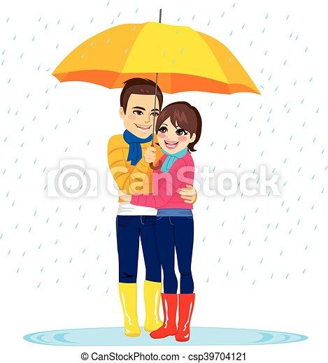couple, amour, pluie, sous - csp39704121