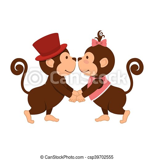 Couple amour singe animal dessin anim rigolote vie - Clipart amour ...