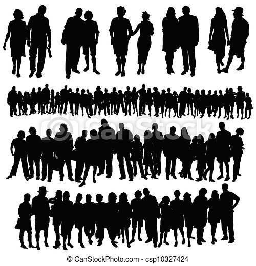 couple and big group of people vector silhouette - csp10327424