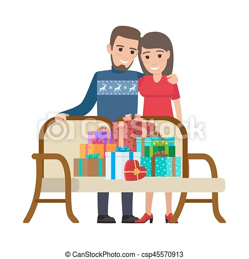 Couple and Bunch of Gifts. Christmas Illustration - csp45570913