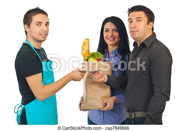 Couple and clerk at grocery - csp7849566