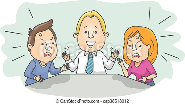couple argue mediator illustration of an arguing married