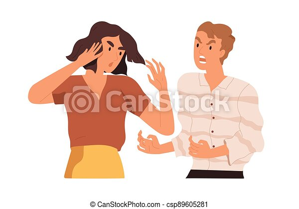 Couple arguing and conflicting. Aggressive and irritated man shouting at annoyed woman. Scene of family quarrel, problem in relashionship. Colorful flat vector illustration isolated on white - csp89605281