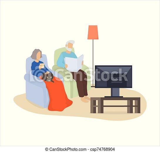 couple, armchair., chat, regarder, vieille dame, séance - csp74768904