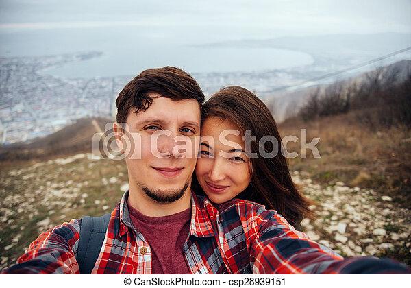 couple, autoportrait, amour, prendre - csp28939151