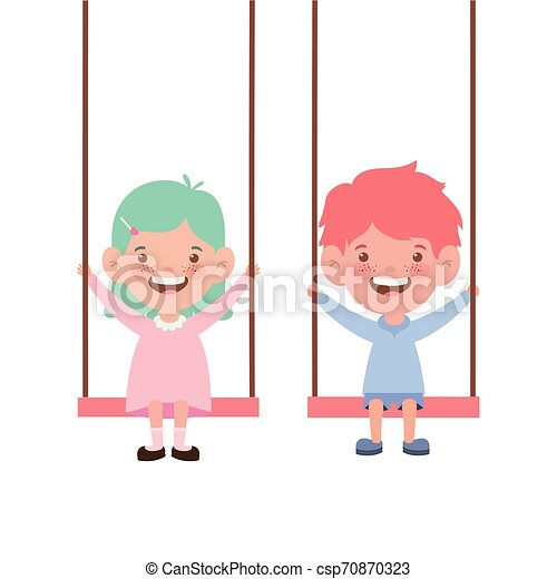 couple baby in swing smiling on white background - csp70870323