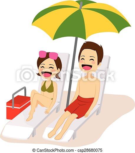couple, bains de soleil, délassant - csp28680075