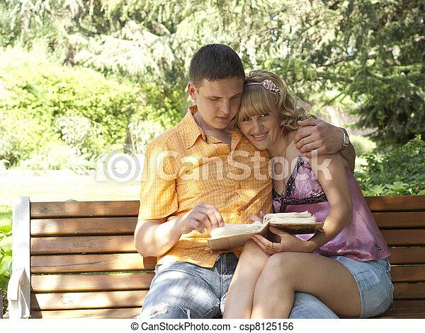 couple, banc, parc, séance - csp8125156