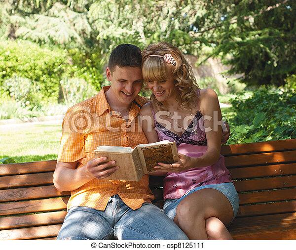 couple, banc, parc, séance - csp8125111
