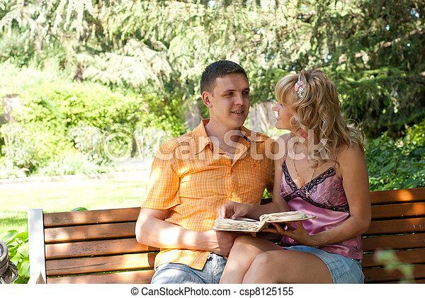 couple, banc, parc, séance - csp8125155