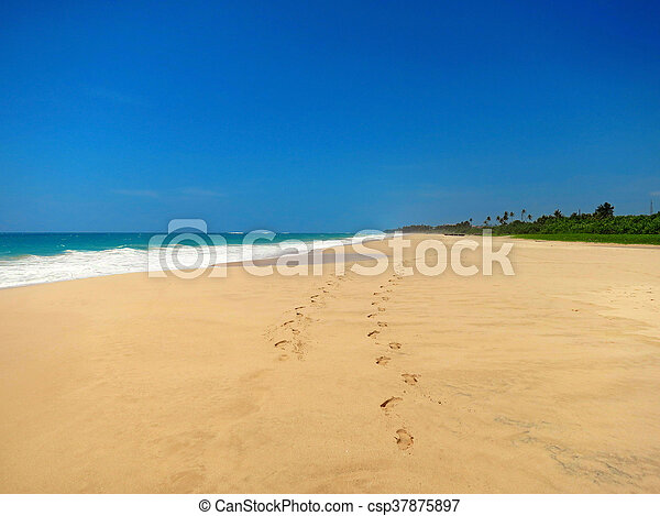 Couple barefoot at empty sandy beach - csp37875897