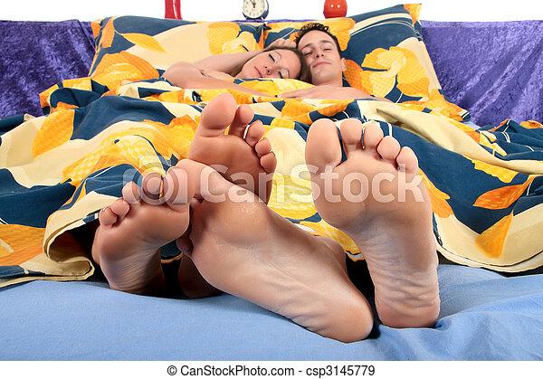 Couple, bedroom grooming - csp3145779