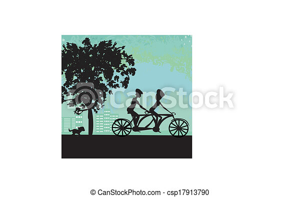 couple biking in the city - csp17913790