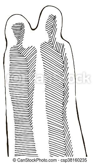 Couple black and white - csp38160235
