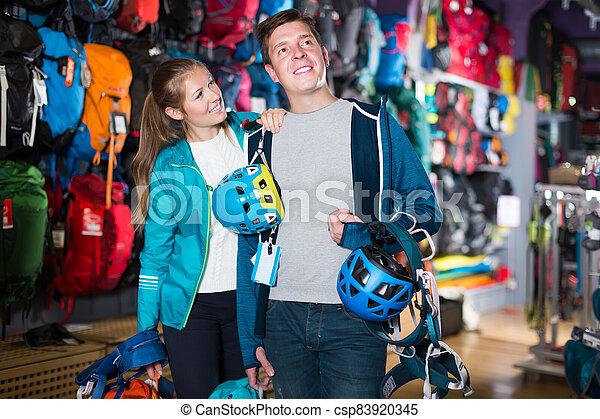 couple buy travel gear - csp83920345