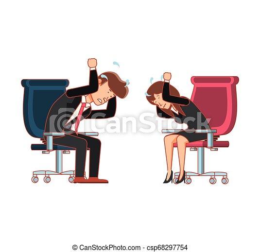 couple, chaise, bureau, business, séance - csp68297754