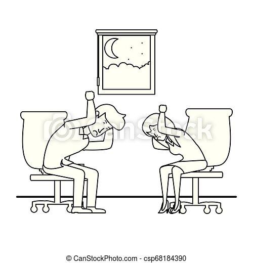 couple, chaise, bureau, business, séance - csp68184390