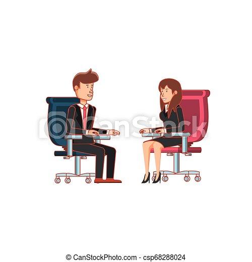 couple, chaise, bureau, business, séance - csp68288024