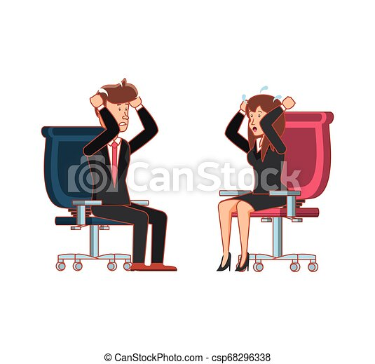 couple, chaise, bureau, business, séance - csp68296338