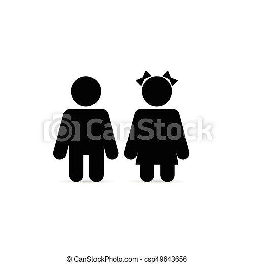 Couple children in black color illustration on white.