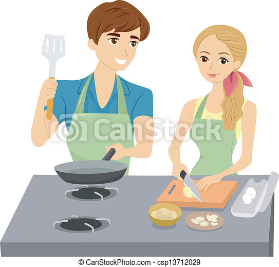 Couple Cooking with Matching Aprons - csp13712029