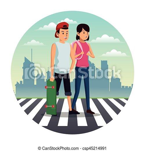 couple crossing street city background - csp45214991