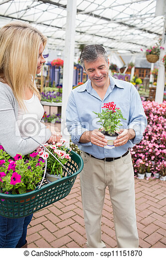 Couple deciding on a plant - csp11151870