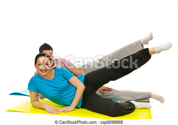 Couple doing  fitness exercise - csp9298888