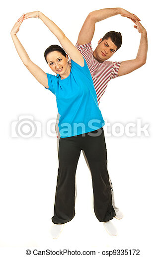 Couple doing fitness exercise - csp9335172
