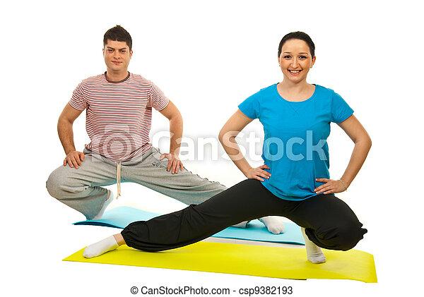 Couple doing fitness - csp9382193