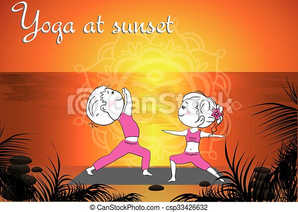 Couple doing yoga on the beach at sunset, vector background - csp33426632