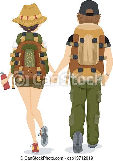 couple, dos, randonnée, vue - csp13712019