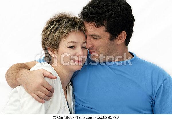 couple, doux, jeune - csp0295790