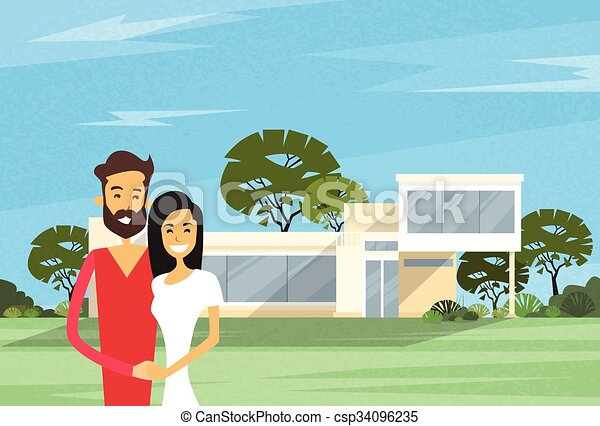 Couple Embracing In Front Of New House Modern Villa - csp34096235