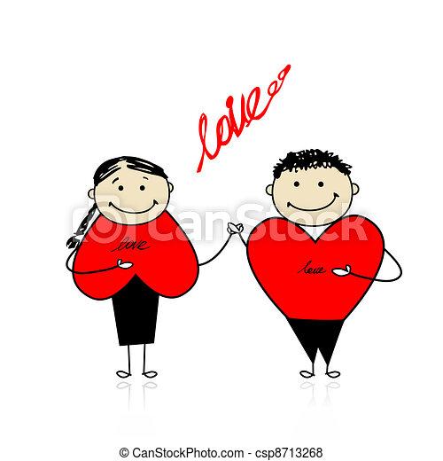 couple, ensemble, valentin, day., conception, ton - csp8713268