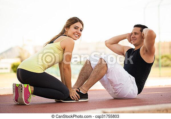 couple, exercisme, ensemble, dehors - csp31755803