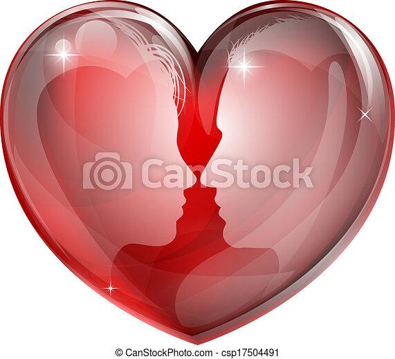 Couple faces heart - csp17504491