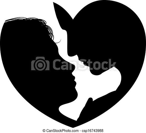 Couple faces heart silhouette - csp16743988