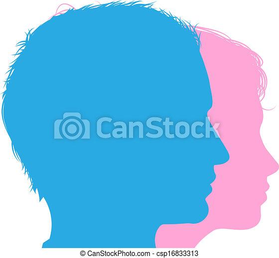 Couple faces silhouettes - csp16833313
