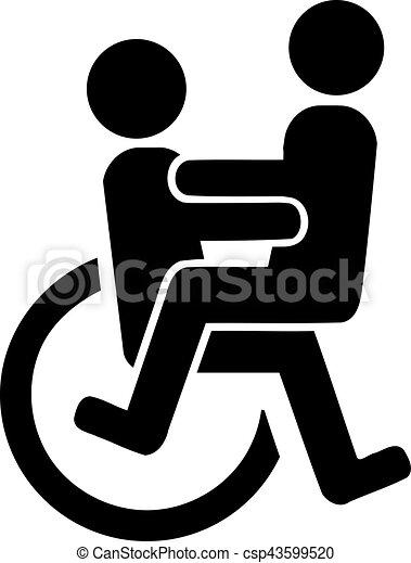 couple fauteuil roulant illustration vectorielle