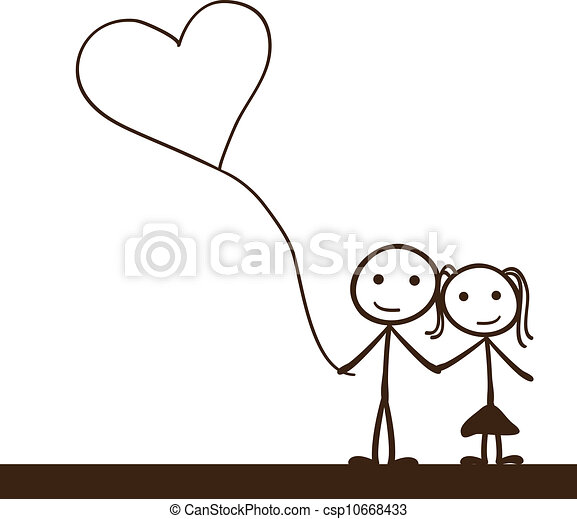couple, figure bâton - csp10668433