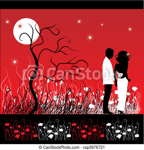 couple, fleur, promenades, pré, nuit - csp3976721