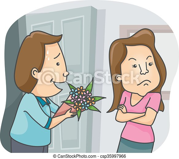 couple flowers sorry gift illustration of a man offering a clip rh canstockphoto co uk sorry clipart animated sorry i'm late clipart